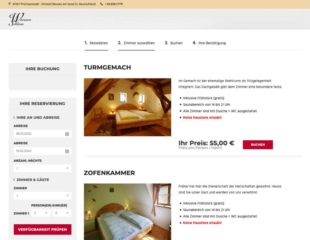 Buchungsmaske Woerners Schloss Hotel
